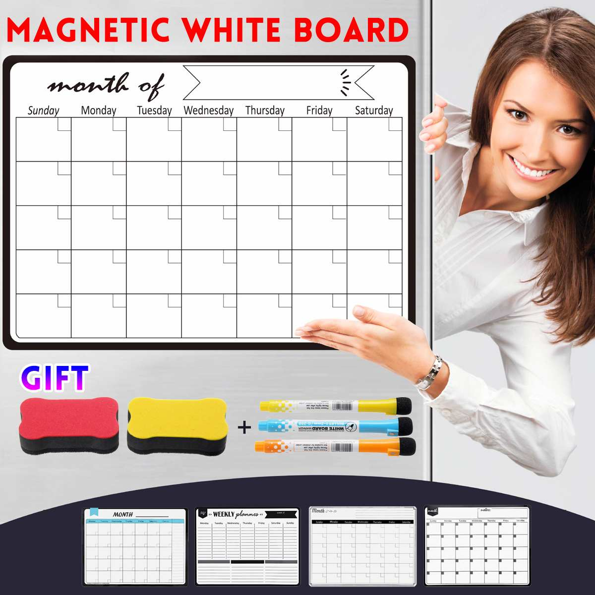 5 Styles Magnetic Monthly & Weekly Planner Whiteboard Fridge Magnet Flexible Message Drawing Refrigerator Bulletin White Board