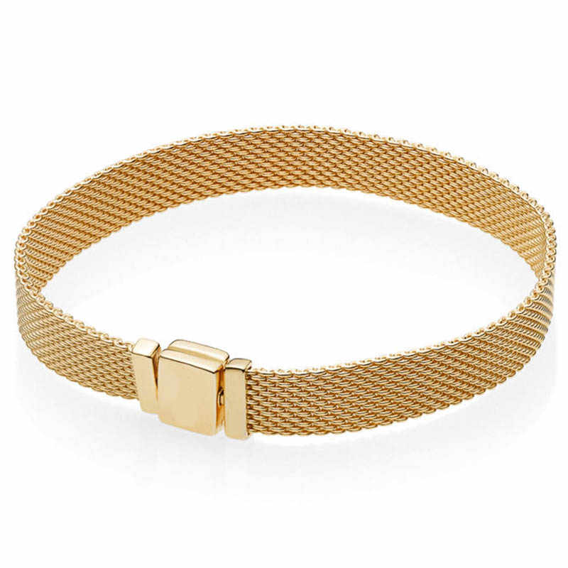 925 Sterling Silber Pan Armband Gold Farbe Glanz Woven Mesh Reflexions Armband Armreif Fit Frauen Perle Charme Diy Schmuck