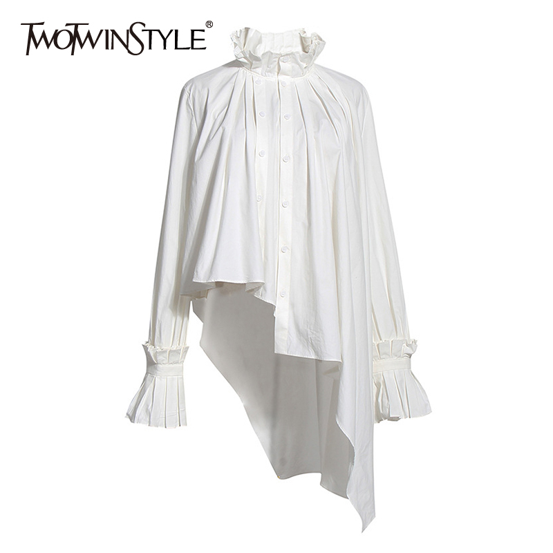 TWOTWINSTYLE Vintage Asymmetrical Women Blouse Stand Collar Flare Long Sleeve Irregulaer Hem Ruched Ruffles Shirt For Female New