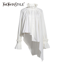 TWOTWINSTYLE Vintage Asymmetrical Women Blouse Stand Collar Flare Long Sleeve Irregulaer Hem Ruched