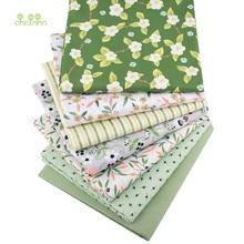 Chainho,7 peças, série floral verde, tecido de algodão de sarja de impressão, pano de retalhos para costura diy estofando material do bebê & da criança, 40x50cm