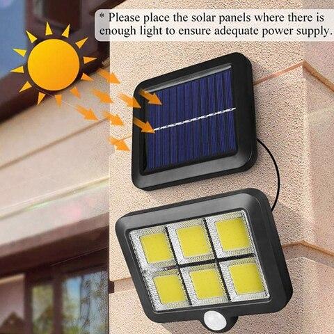 luz de parede solar cob 6 led solar ao ar livre jardim luz pir sensor