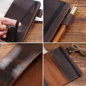 Image 3 - Feld Notizen Abdeckung Tägliche Tragen Memo Buch Echtem Leder Notebook Planer Karte halter Tasche Vintage Schreibwaren