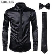 Zwarte Mens Zijden Jurk Shirts 3Pcs(Shirt + Tie + Bowtie) glad Satijn Shirt Mannen Slim Fit Party Prom Casual Shirts Mannen Sociale Camisa