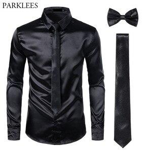 Image 1 - Мужская шелковая рубашка s, черная классическая рубашка из гладкого атласа, 3 шт. (рубашка + галстук + бабочка), приталенная Повседневная рубашка для вечеринки и выпускного вечера