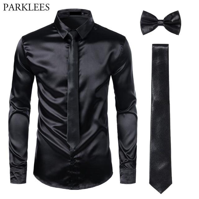 Мужская шелковая рубашка s, черная классическая рубашка из гладкого атласа, 3 шт. (рубашка + галстук + бабочка), приталенная Повседневная рубашка для вечеринки и выпускного вечера
