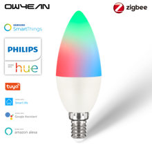 Zigbee 3.0 inteligente led vela lâmpada e14 rgbcw pode ser escurecido 5w philips matiz tuya vida inteligente alexa google casa assistente smartthings