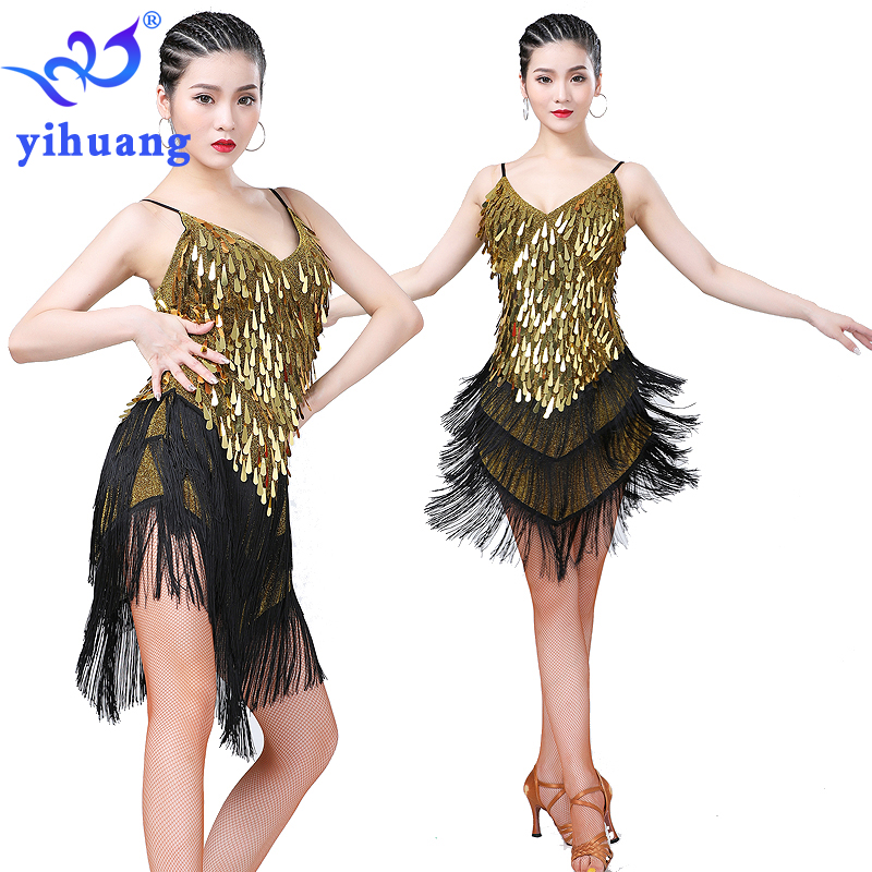 Ladies Latin Dance Dress 1920s Flapper Dresses Charleston Gatsby Party Costume Tassel Fringes Sequin Competition Salsa Jazz
