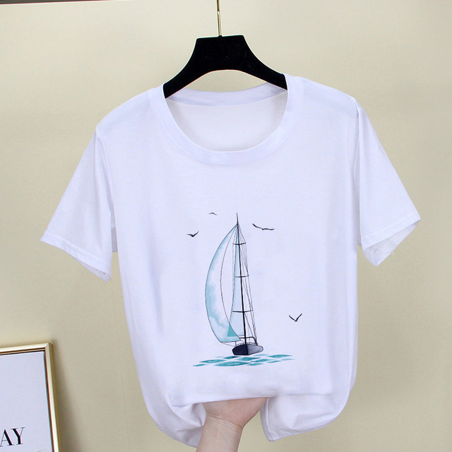2019 nouvelle mode T-shirt mer imprimé à manches courtes hauts femme vêtements Section mince T-shirt femmes Harajuku hipster blanc T-shirt