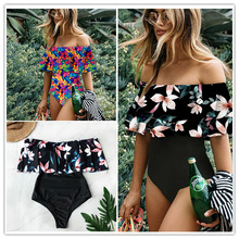 Off The Shoulder Ruffle One Piece Swimsuit RK