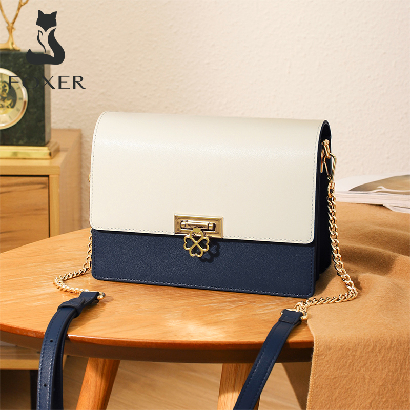 Foxer Lupy Chain Leather Messenger Bags for Women