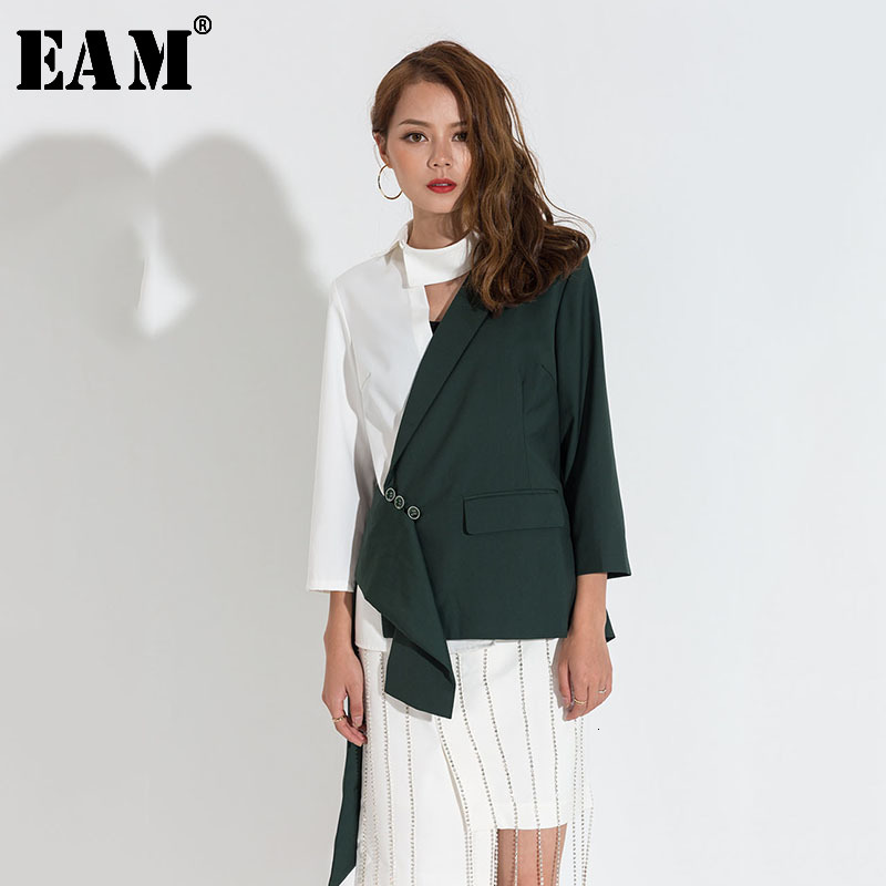 [EAM] Loose Fit Green Contrast Color Asymmetrical Jacket New Lapel Long Sleeve Women Coat Fashion Tide Spring Autumn 2020 JA4240