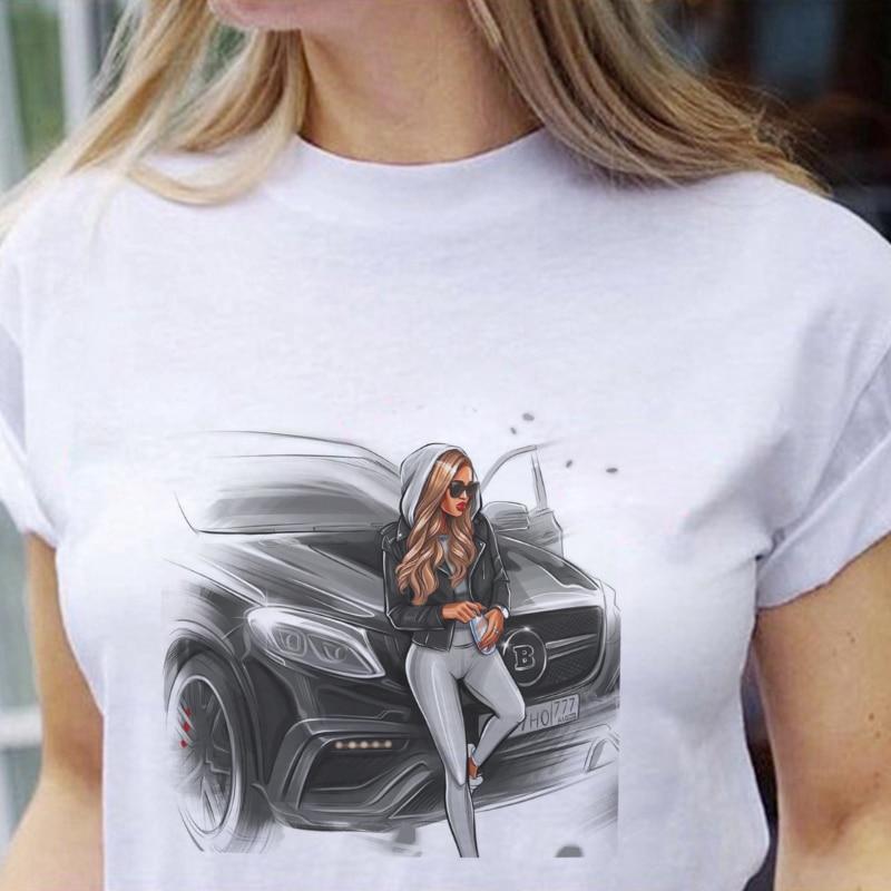 Summer Printed Sexy Girl Sitting On A Sedan T Shirt Women Harajuku Vogue Tshirt Graphic Cartoon Tops Korean Style Female T-shirt