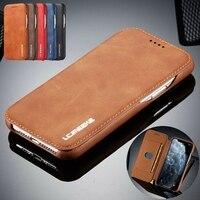 Slim Case per Il IPhone 11 Pro Mini Xs Max Xr X 7 8 Più di 6 6s SE 2020 12 di lusso Del Supporto di Carta Magnetica del Cuoio di Vibrazione Del Raccoglitore Della Copertura