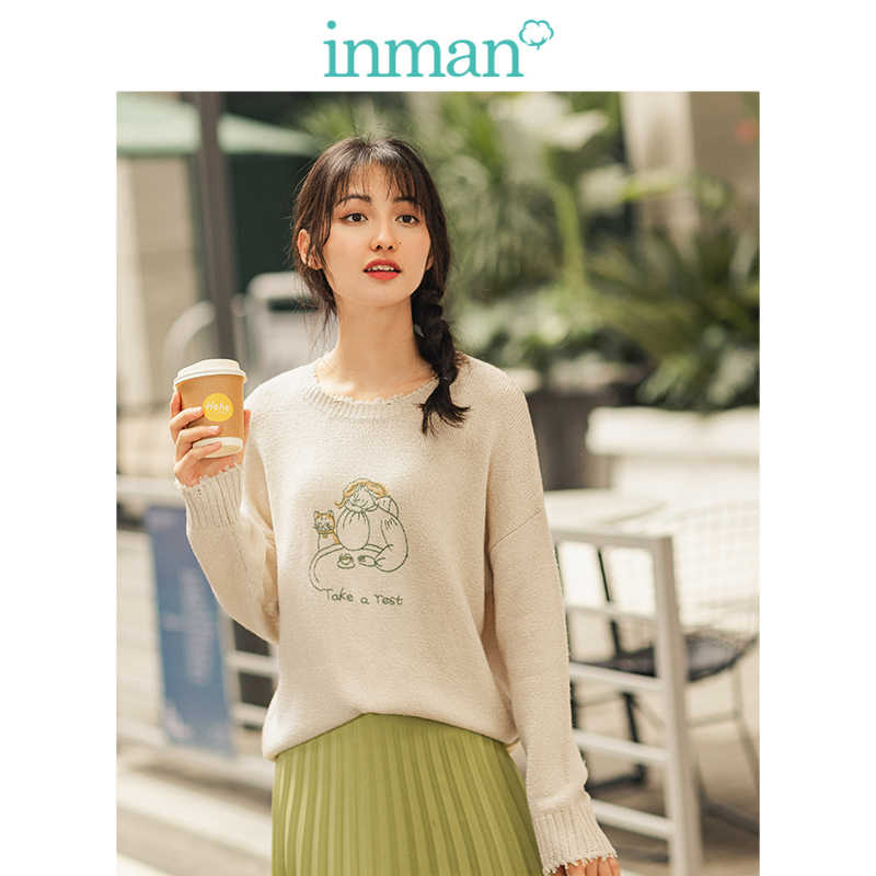 INMAN Spring Autumn Rib O-neck Drop-shoulder Sleeve Embroidery Solid Literary Women Pullover