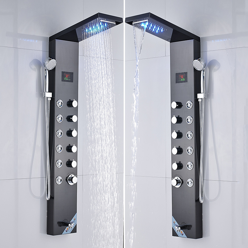 Hc4e7d14ef9cb46feacf6568ebba177dcU Newly Luxury Black/Brushed Bathroom Shower Faucet LED Shower Panel Column Bathtub Mixer Tap With Hand Shower Temperature Screen