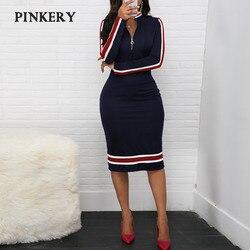 2020 весеннее платье с длинным рукавом, женское платье в спортивном стиле, Серебряное платье на молнии с половинным вырезом, в полоску, сочета...