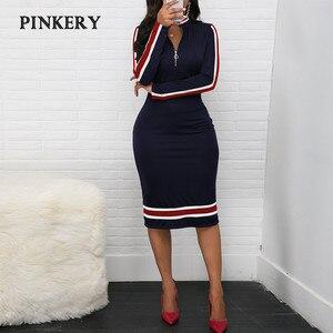 2020 Spring Women Long Sleeve Sport Style Dress Silver Zipper Half Neck Stripe Color Matching Dress Stretch Bodycon D30(China)