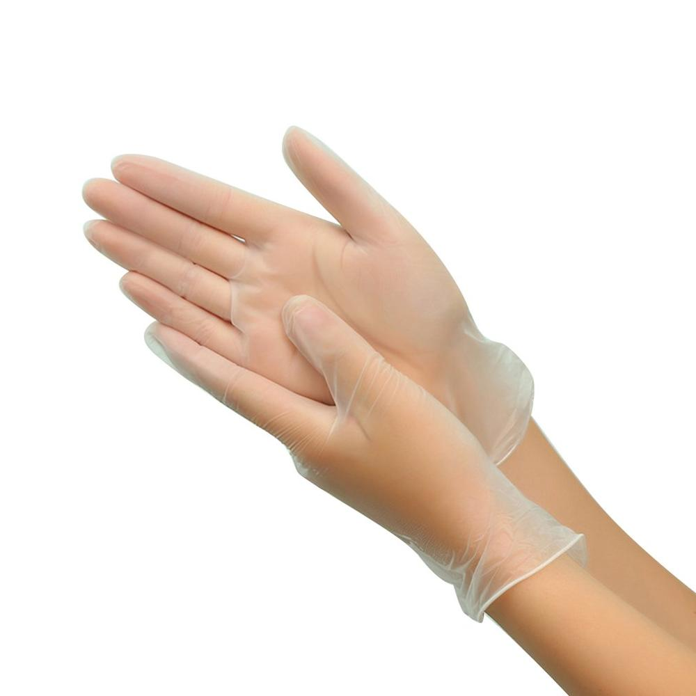 Disposable 9 Inch Pvc Transparent Gloves Anti-Puncture Ability Tapered Cuffs Anti-Bacterial Penetration 100 Pcs