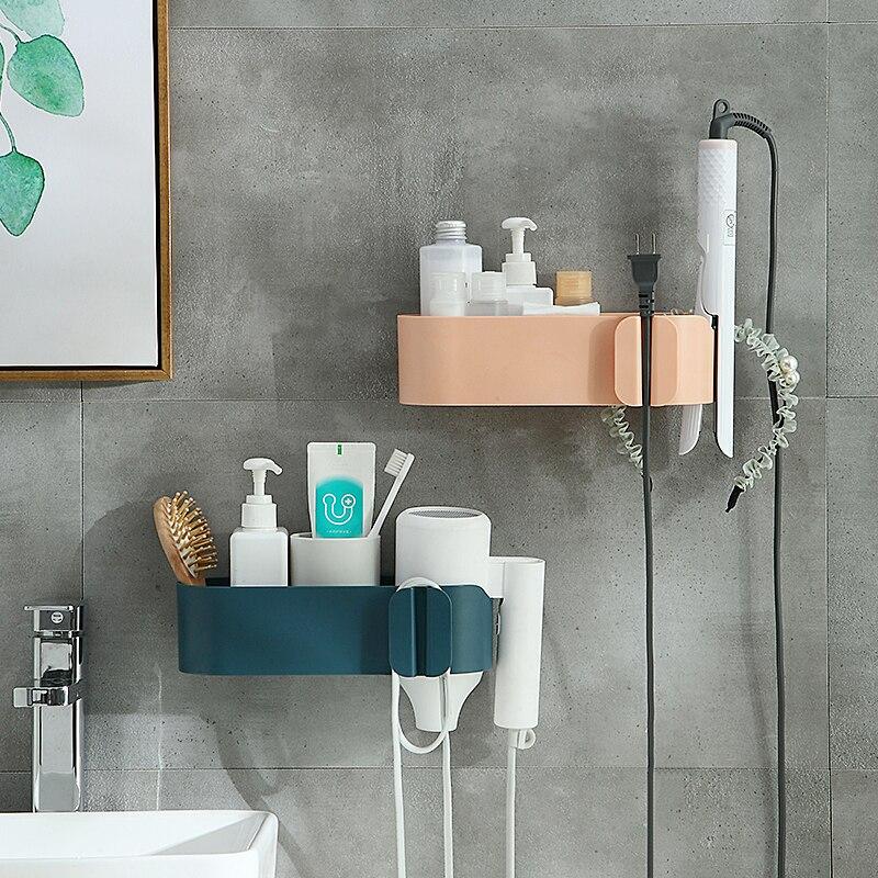 Hair Dryer Holder ABS Bathroom Shelf Storage Wall-mounted Hair Dryer Holder Hairdryer Holder Rack Organizer For Hairdryer Shelf