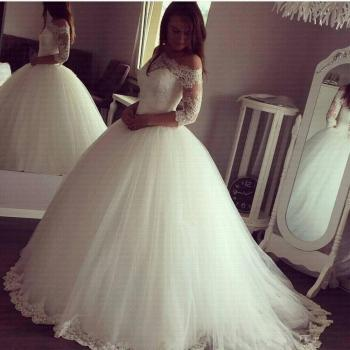 2020 Arabic Princess Ball Gown Wedding Dresses Sheer Neck 3/4 Sleeve Off-the-shoulder Sweep Train Lace Up Plus Size Bridal - discount item  33% OFF Wedding Dresses