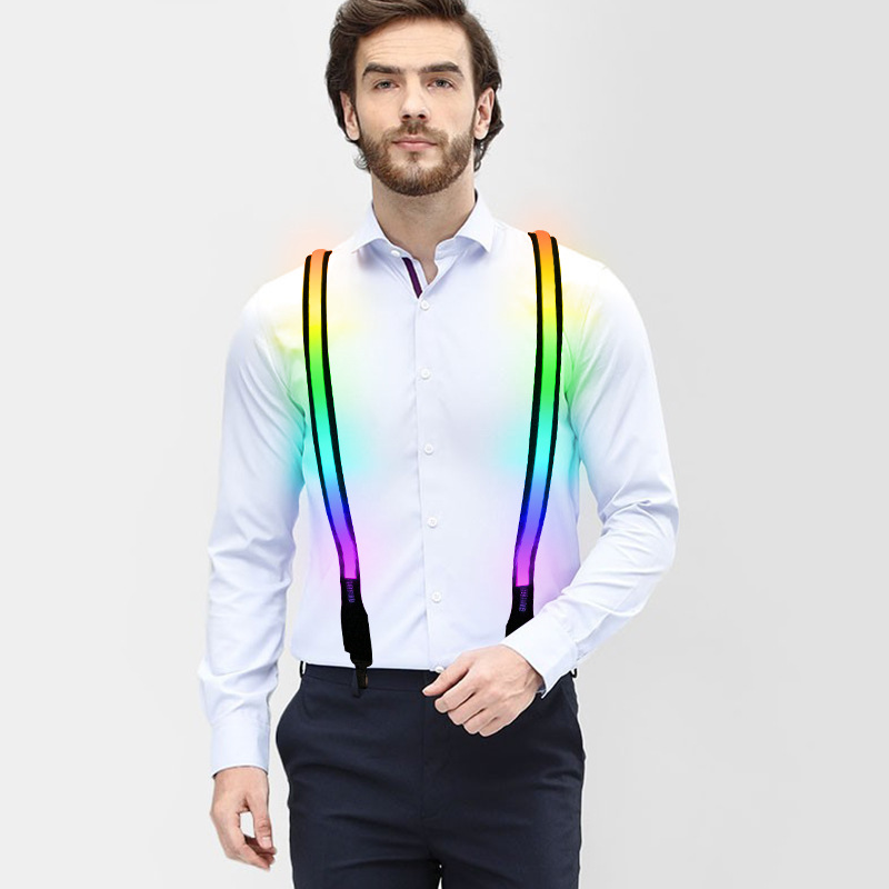 Printed LED Suspenders Men 3 Clips-on Braces Vintage Mens Suspender For Trousers Husband Male Suspensorio For Skirt