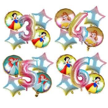 5 uds Cenicienta nieve blanca princesa globos Aurora Ariel Belle Jasmine Tiana globos bebé niña fiesta de cumpleaños shower festejo de Juguetes