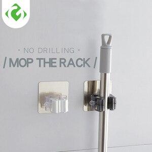 Image 1 - Parete Mop Dellorganizzatore Del Supporto Rack Auto Attaccare Spazzola Scopa Gancio Gancio Cucina bagno Mop Rack di storage di goccia 1pc forte