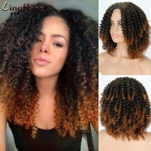 LINGHANG 14 дюймовый афро курчавый кудрявый парик синтетический короткий парик смешанный светлый кружевной парик для черных женщин ежедневный ...