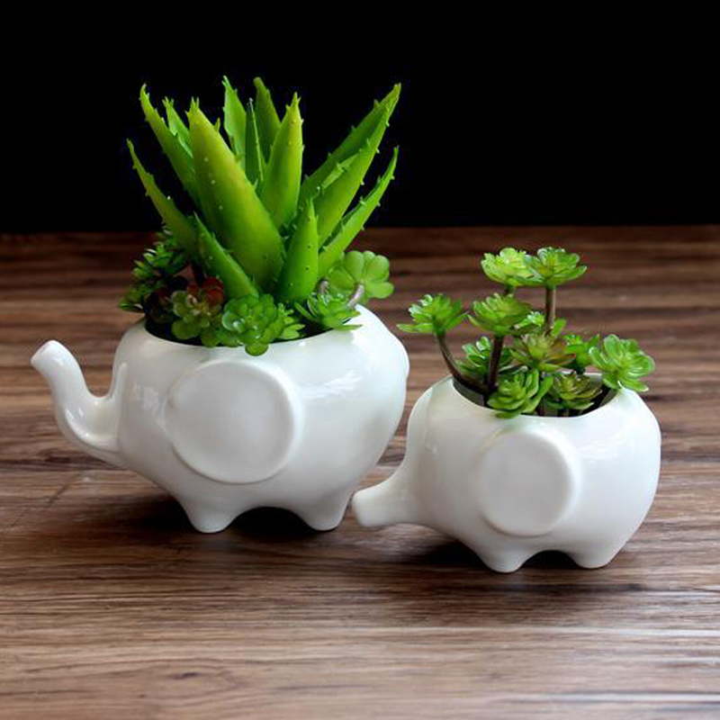 Elephant Ceramic Flower Pot Succulent Plant Container Decoration For Home Office Garden Can CSV