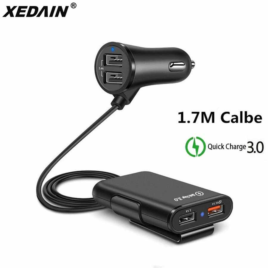 Charge Cepat QC 3.0 Charger Mobil 4 Port USB Charger Mobil 5.6ft Kabel Ekstensi untuk Ponsel Samsung Xiaomi iPhone charger Mobil