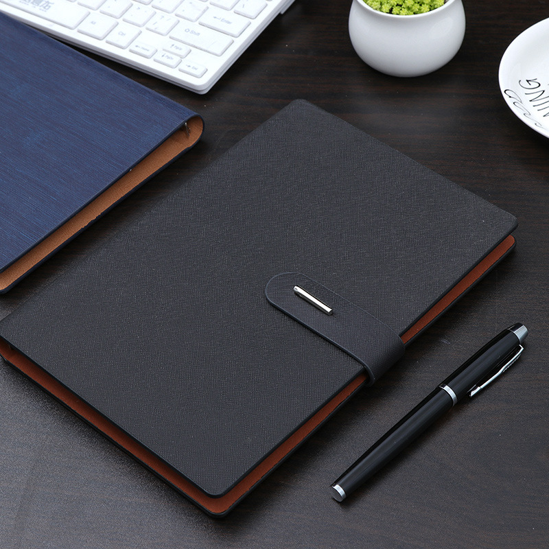 Notebook A5 Business Office Gift Metal Button Page Notebook Study Meeting Gift Diary Note
