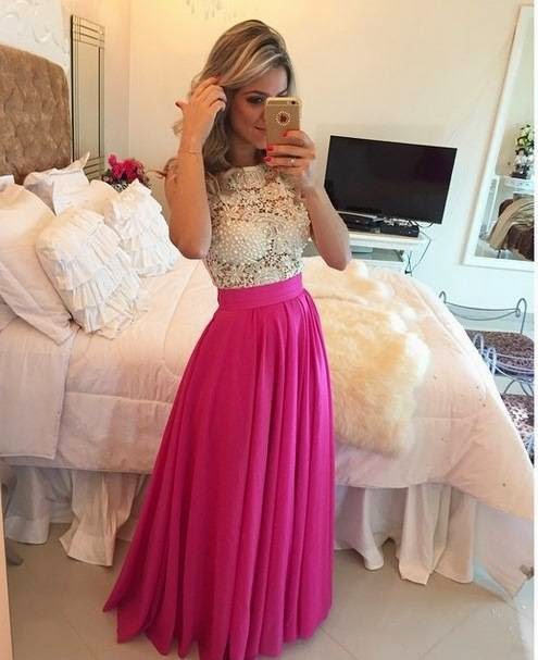 Vestido de formatura Chiffon Long Beaded Prom gown 2018 Crew Neck Sheer Lace Evening Women Party mother of the bride dresses