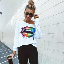 hirigin Women sheath Colorful Lip Printed Round Neck new Long Sleeves fashion Clubwear T-Shirt female casual slim Casual Tops(China)