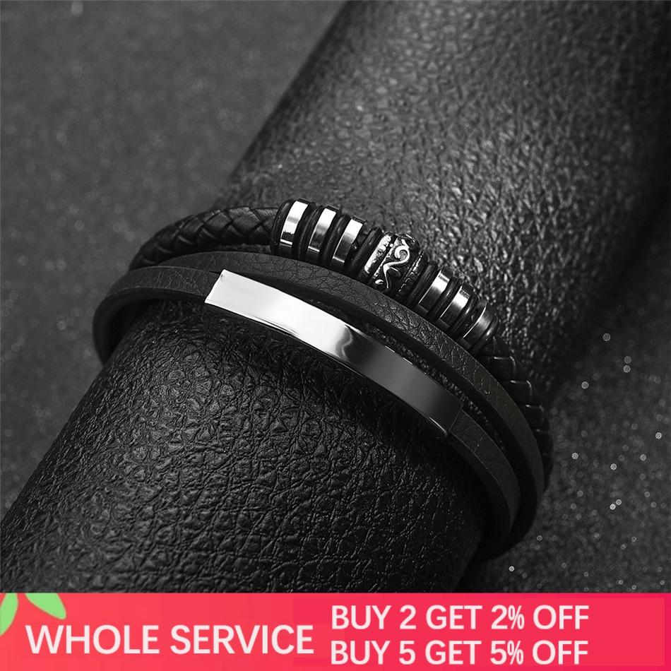 Jiayiqi Fashion Leather Bracelet for Men Black Braid Multilayer Rope Chain Stainless Steel Magnetic Clasp Male Jewelry Gifts