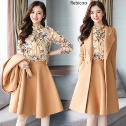 Модный женский осенний комплект из 3 предметов, женское длинное пальто, пальто, темпераментный тонкий новый зимний шерстяной Женский компле...