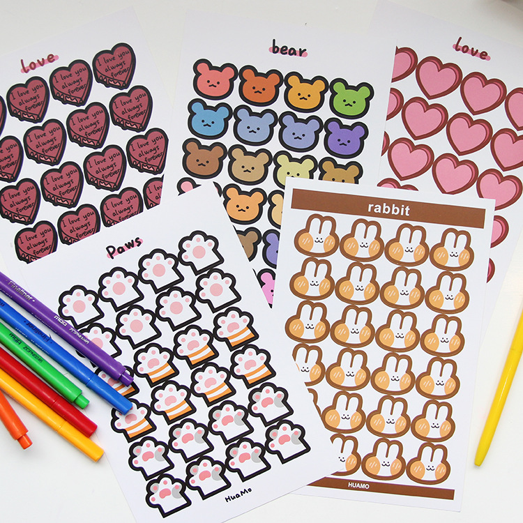 Mohamm 1Pcs Kawaii Cartoon Rabbit Cat Claw Bear Korea Sticker Flakes Paper Sticker Stationery Accessories School Supplies