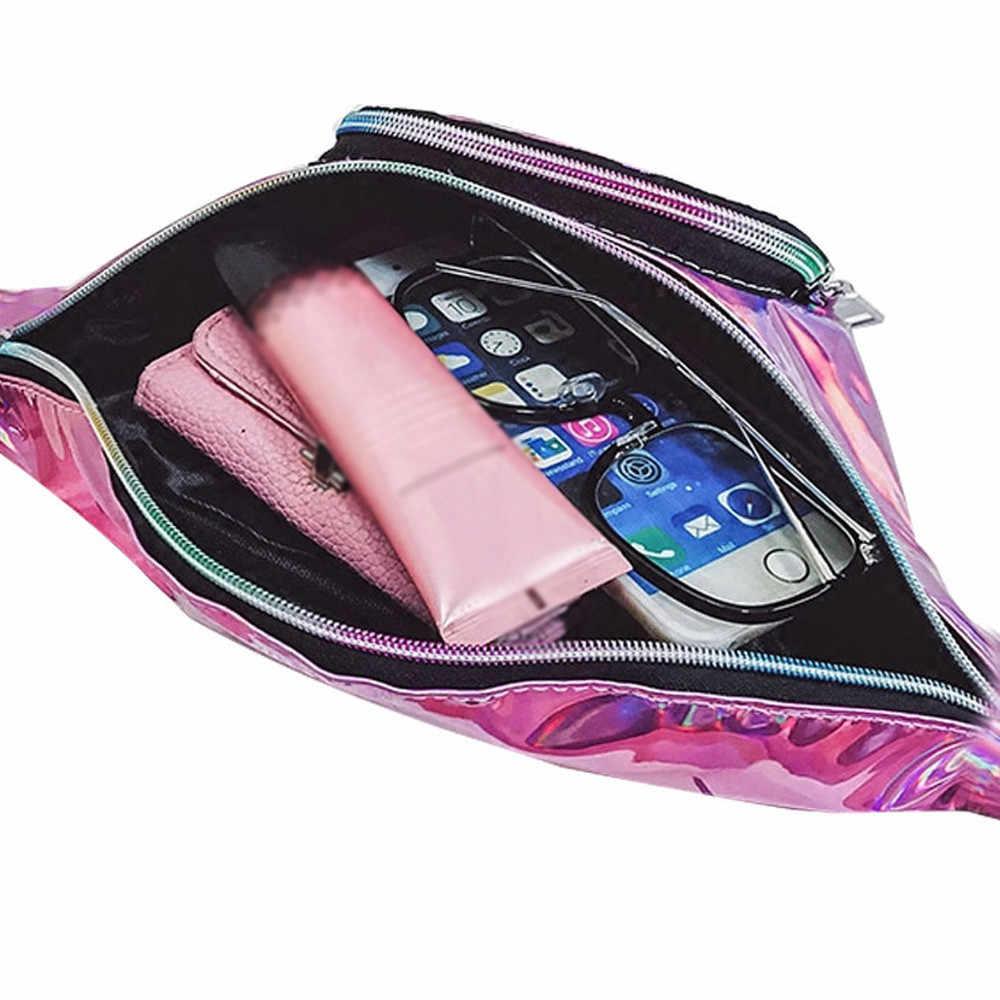 Laserowe saszetki na pas damskie różowe srebrne piterek kobiece saszetka na pasek czarna wodoodporna skórzana talia paczki laserowe etui na telefon