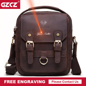 GZCZ Business Casual Genuine Leather Men Messenger Bag for ipad Male Crossbody Large Capacity Vintage  Zipper Shoulder Handbag