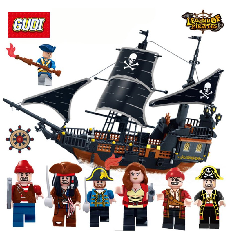 652pcs Pirates Caribbean Black Pearl Ghost Ship large Models Building Blocks Compatible Legoed educational Birthday Gift
