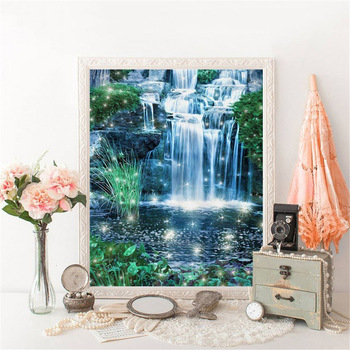 HUACAN 5D DIY Diamond Painting Full Square Waterfall Diamond Embroidery Cross Stitch Landscape Mosaic Home