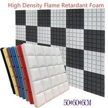 4PCS Flame Retardant Studio Acoustic Soundproof Foam Sound Absorption Treatment Panel Protective Sponge High Density 50x50x5cm