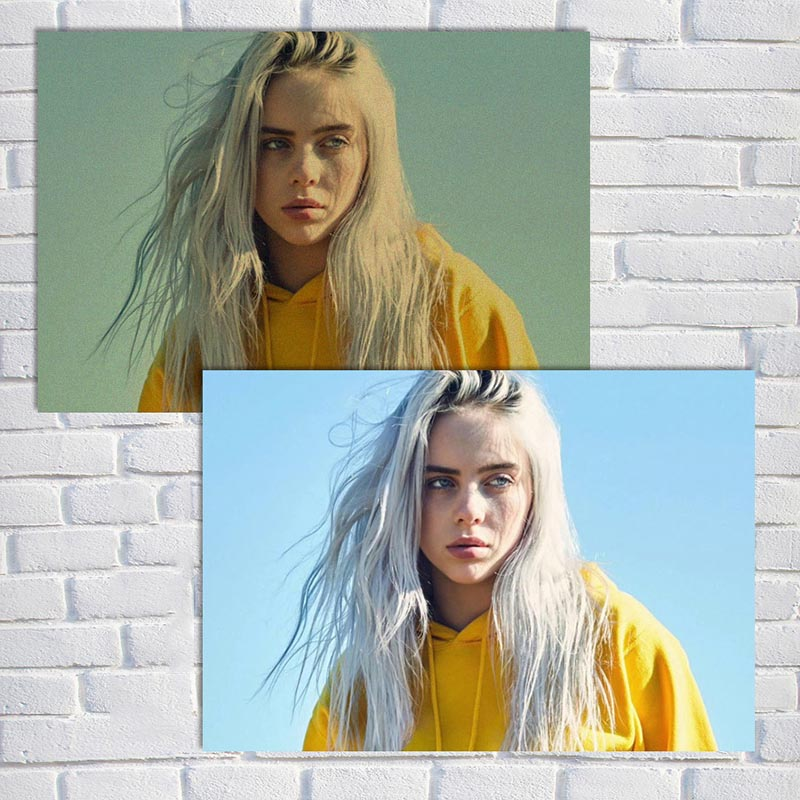 COSY MOMENT Billie Eilish Poster Singer Star Wall Art Kraft Paper Posters And Prints Picture For Living Room Decor ZS175