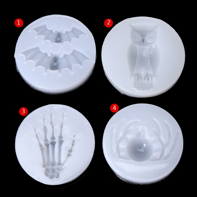 Halloween Bat Owl Spider Skeleton Liquid Silicone Mold DIY Resin Jewelry Pendant Necklace Pendant Mold Resin Molds For Jewelry