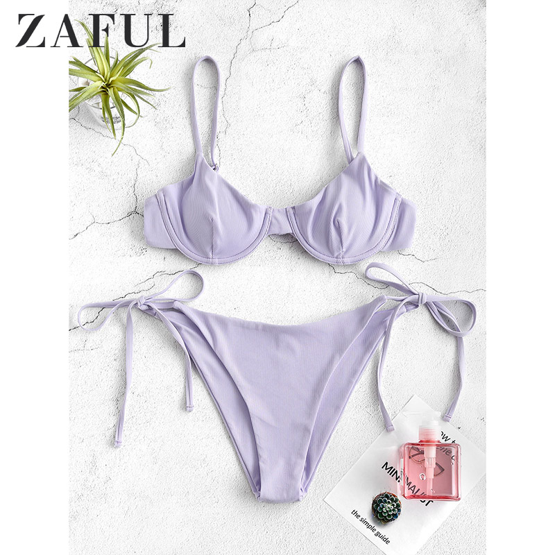 ZAFUL Sport Solid Thong Bikinis Set Halter Push Up Bikini With Tie Side Bottoms Red Swimsuits Women Summer White Beach Swimwear