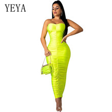 YEYA None Yellow Green Sexy Off Shoulder Bodycon Maxi Dress Strapless Sleeveless Pleated Women Party Dresses Vestidos Femme stylish strapless sleeveless flower print women s maxi dress
