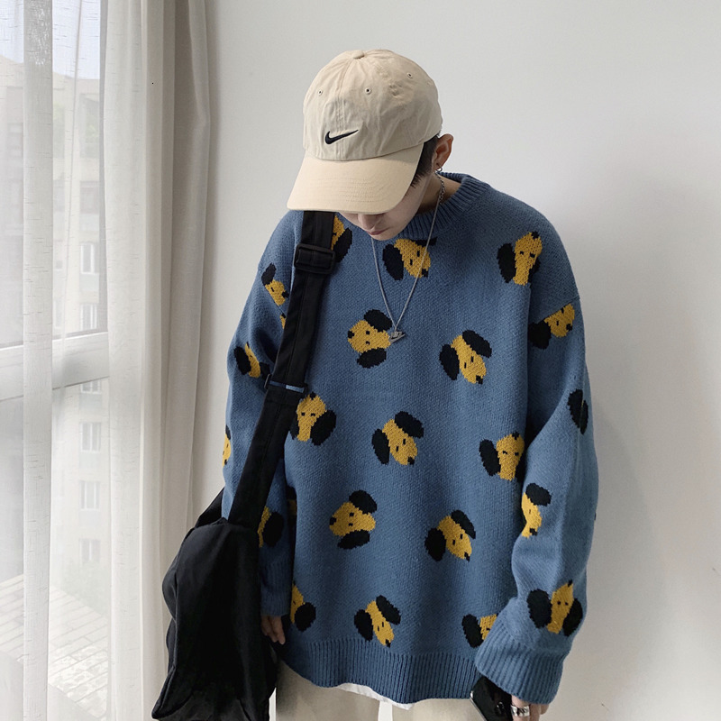 UYUK2019 Autumn And Winter Trend Street Loose Casual Cute Wild Cartoon Pattern Men's Round Neck Sweater Clothes Men Hombre