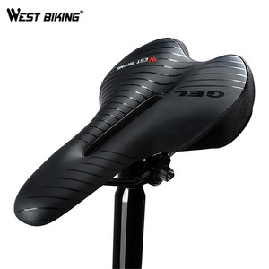 WEST BIKING Bike Saddles With 3 Modes Safety Taillight Waterproof Shockproof Cycling Saddle Bike Rear Light Bicycle Seat Cushion