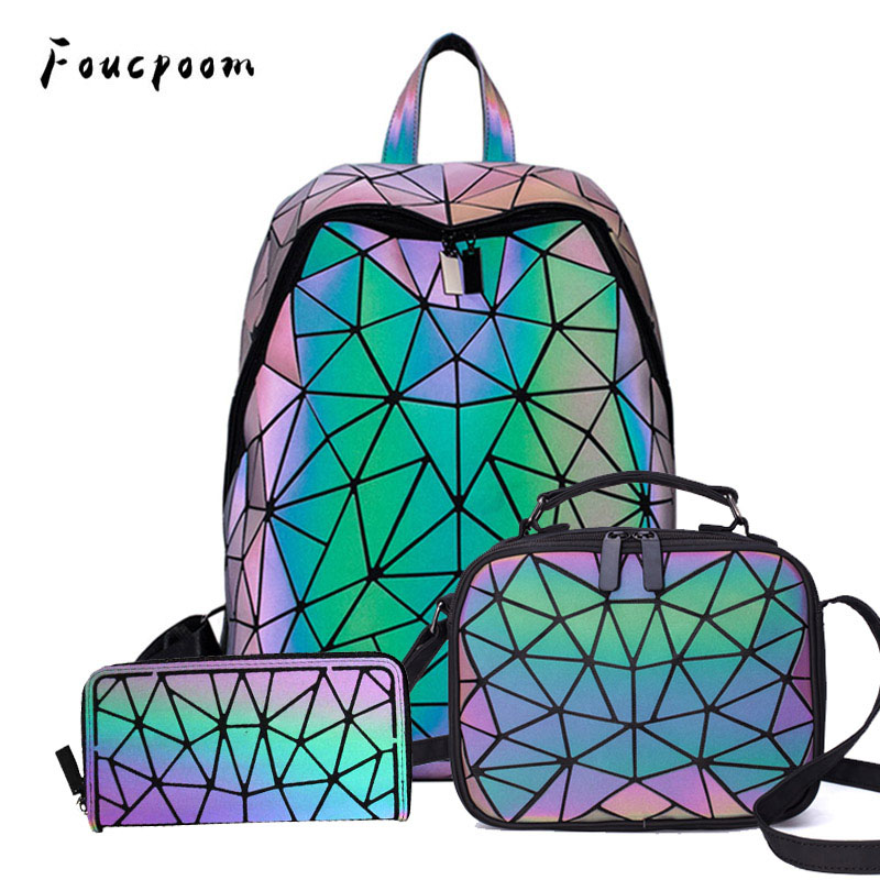 Women Backpack School Foldable Crossbody Bag For Ladies Clutch And Purse Geometric Luminous Laptop Bagpack Holographic 3Pcs Set