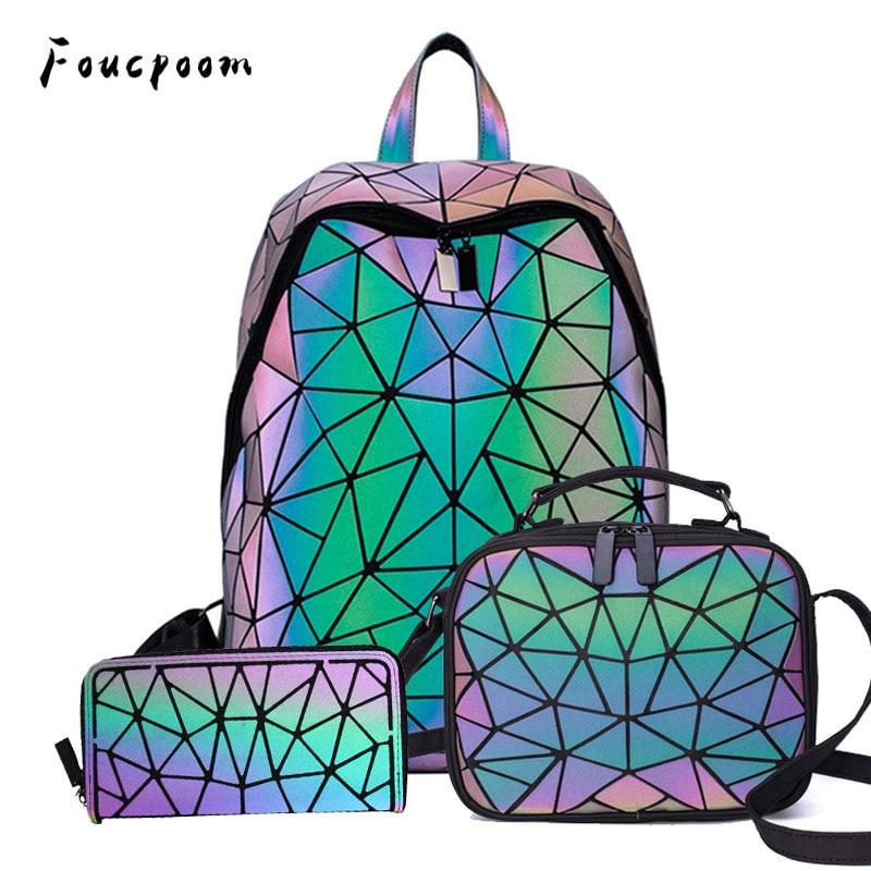 Women Backpack School Foldable Crossbody Bag For Ladies Clutch And Purse Geometric Luminous Laptop Bagpack Holographic 3Pcs Set